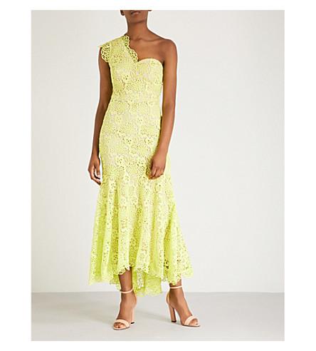 Karen Millen One-shoulder floral-lace maxi dress