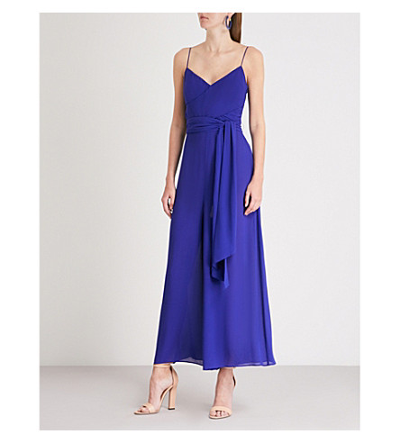 3e630673fb3 KAREN MILLEN - Semi-sheer belted wide-leg crepe jumpsuit ...