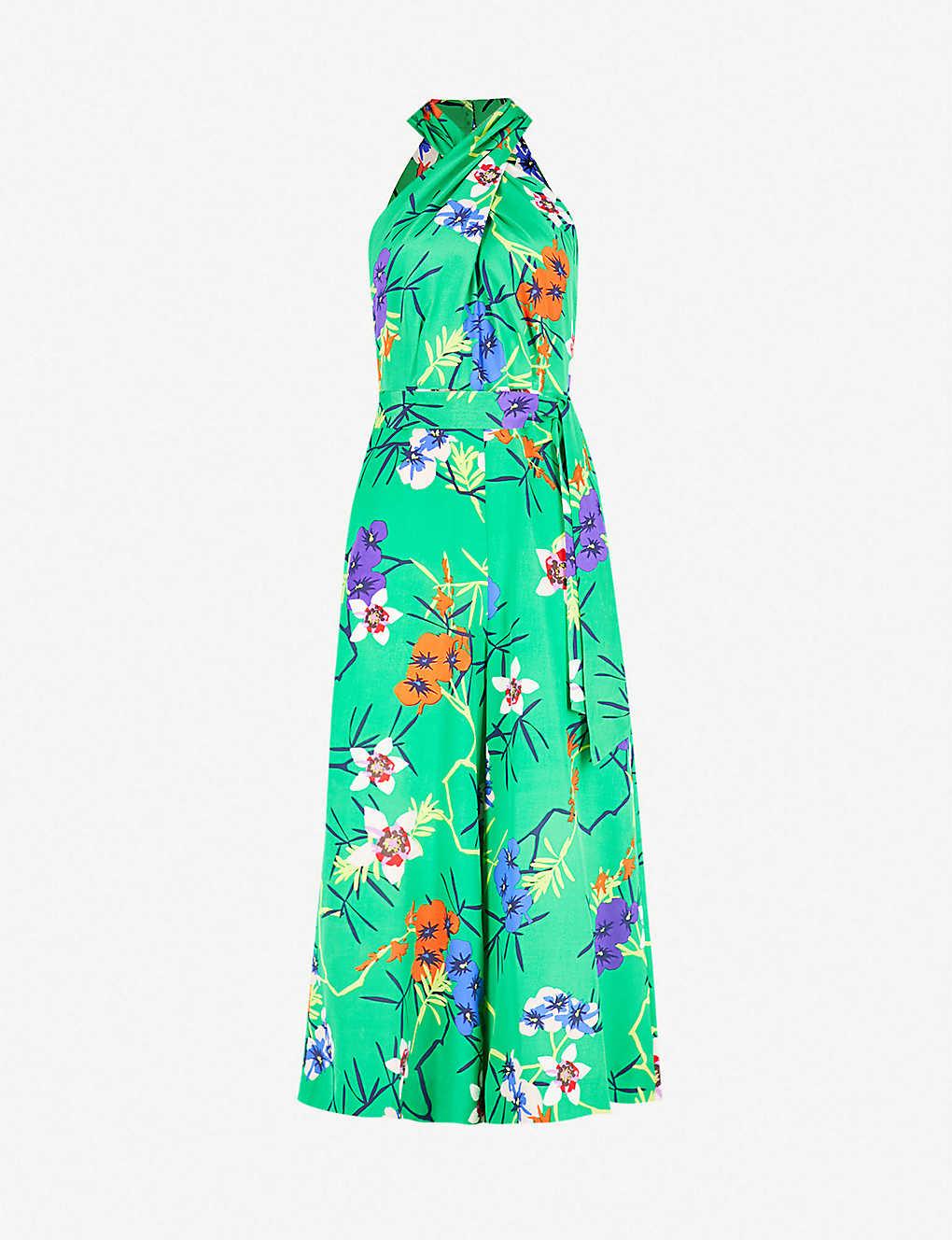 68e7b18782 KAREN MILLEN - Floral-print silk crepe jumpsuit