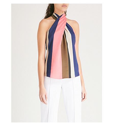 Karen Millen Striped satin-crepe top