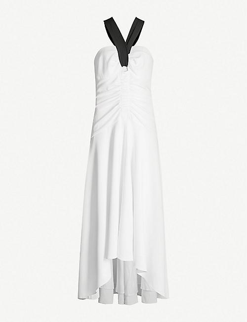 7a88796ca0828 KAREN MILLEN Halterneck fit-and-flare crepe dress