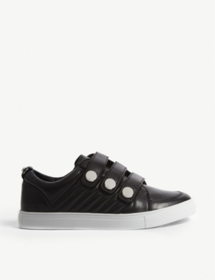 KAREN MILLEN Quilted leather popper trainers