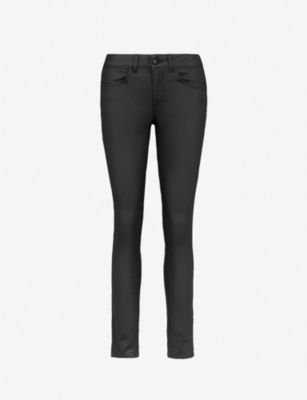 KAREN MILLEN Coated cropped high-rise skinny jeans