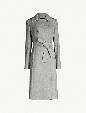 KAREN MILLEN Belted wool-blend long coat