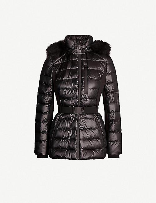 7faf6766 KAREN MILLEN Faux-fur trimmed hood shell-down puffer coat