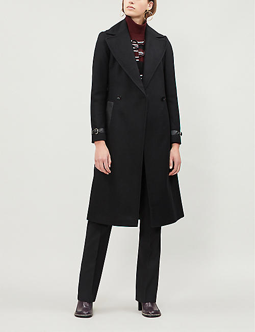 KAREN MILLEN Wrap-over wool-blend coat