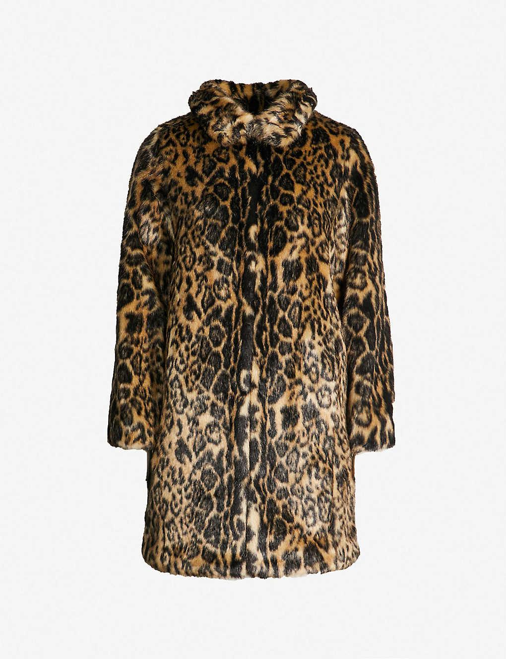 aaa42d402be KAREN MILLEN - Leopard-print faux-fur coat | Selfridges.com