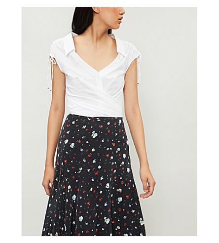 Karen Millen Pleated cotton-blend shirt