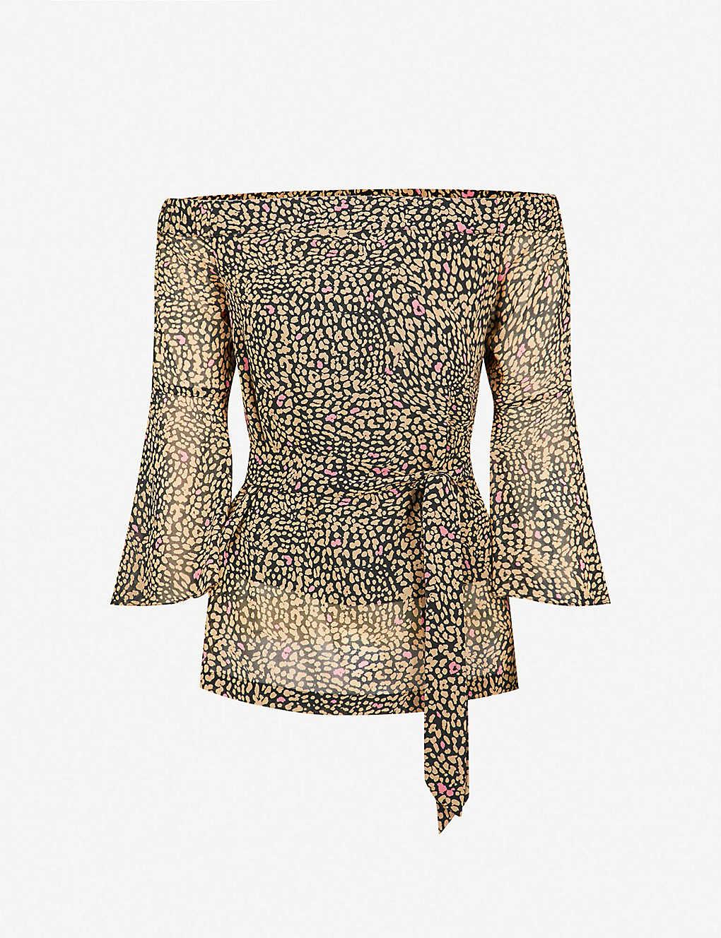 91f8127dacf KAREN MILLEN - Leopard-print crepe top | Selfridges.com