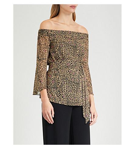 18c6162e03d92 Karen Millen Leopard Print Off-The-Shoulder Top In Grey