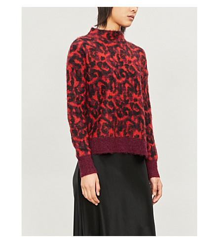 Karen Millen Leopard-print brushed-knit sweater