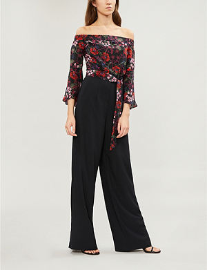 0282a2ec5ce KAREN MILLEN Floral-print off-the-shoulder silk and crepe jumpsuit