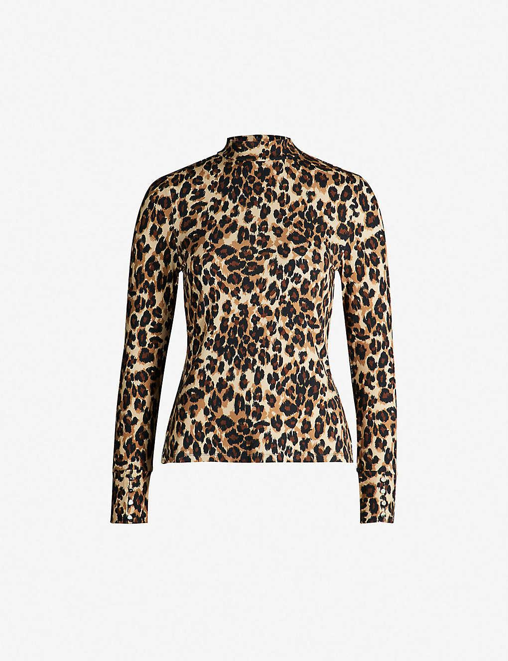 521ef995f4e KAREN MILLEN - Leopard-print funnel neck jersey top | Selfridges.com