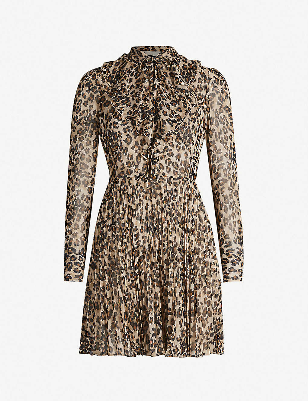78c57df9a9 KAREN MILLEN - Leopard-print ruffled-panel chiffon dress ...