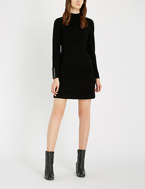 KAREN MILLEN Lace-up chain-embellished knitted dress