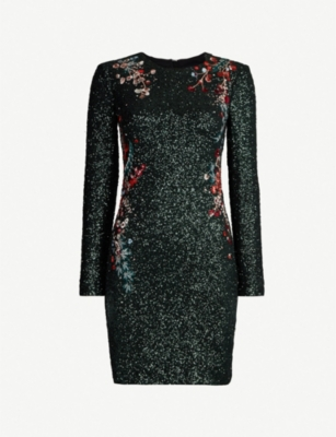 KAREN MILLEN Floral-embroidered fitted sequinned dress