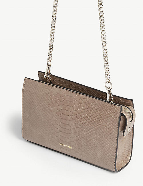KAREN MILLEN Croc-effect cross-body bag