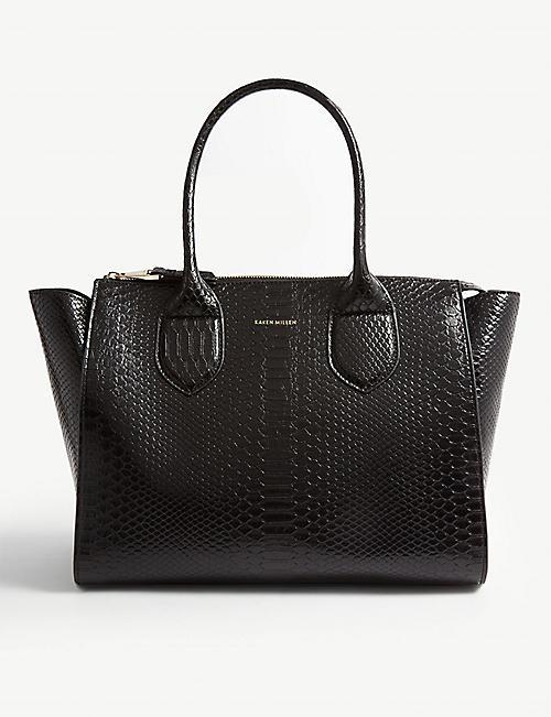 4b2a4db85c7f KAREN MILLEN Croc-embossed shoulder bag