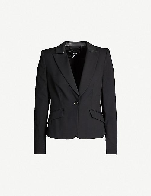 ed8ed2d8cc8 KAREN MILLEN Faux-leather collar wool-blend blazer