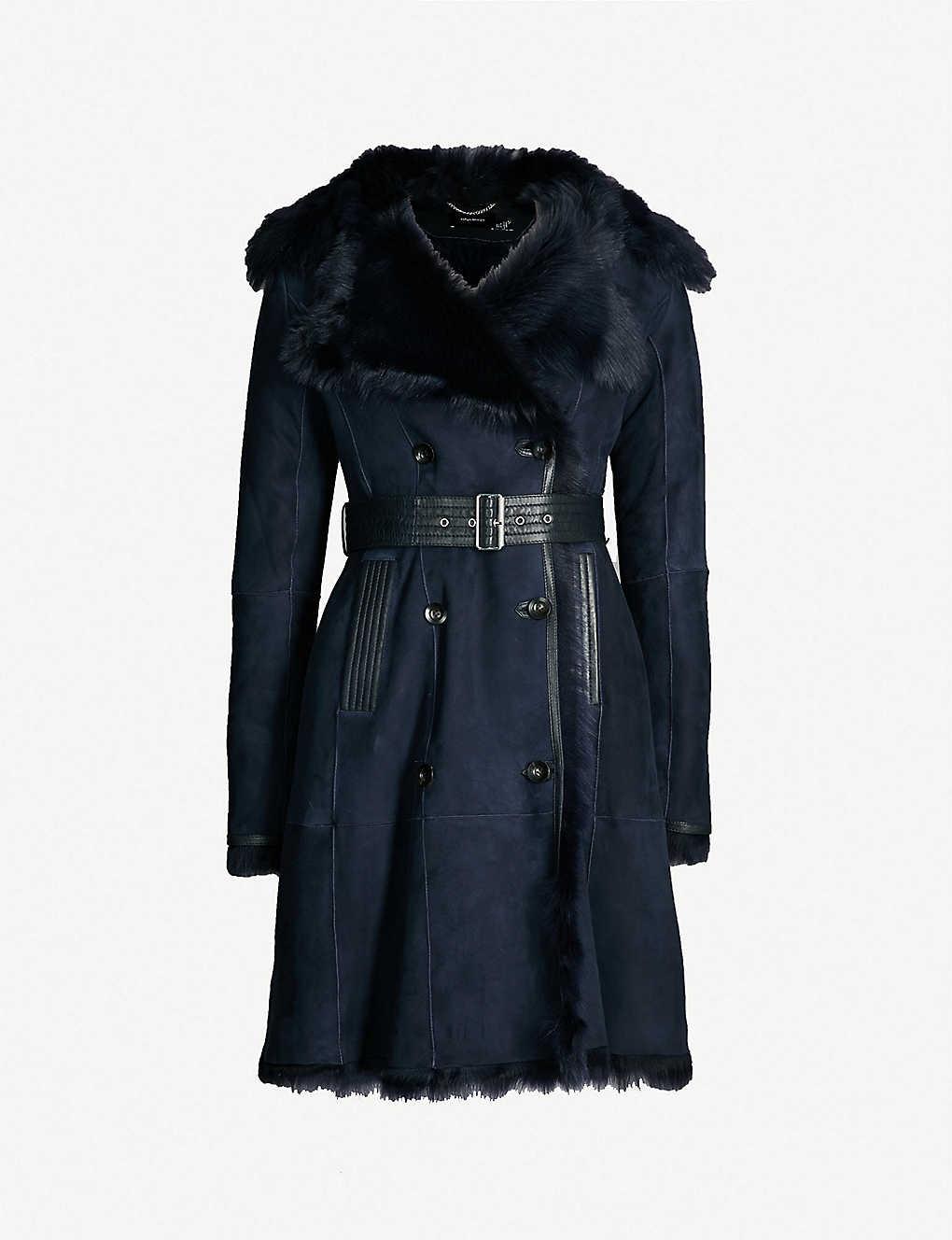 b623652b1f KAREN MILLEN - Belted shearling coat   Selfridges.com