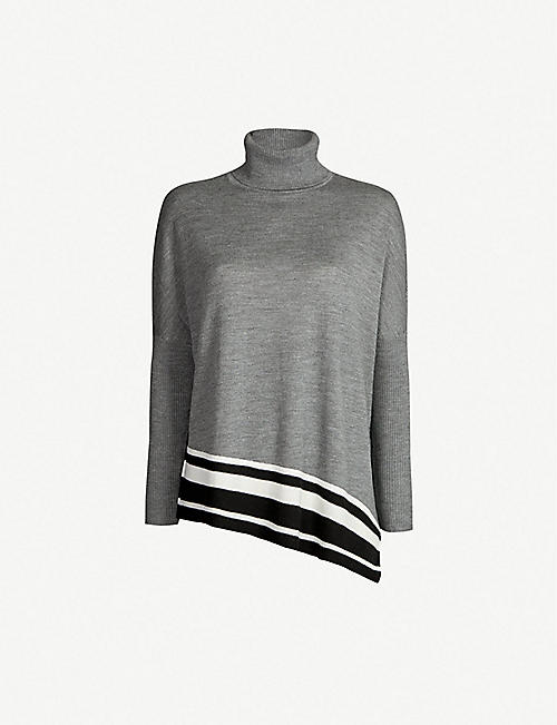 KAREN MILLEN Striped-hem turtleneck wool sweater. Quick view Wish list a1d7f8338
