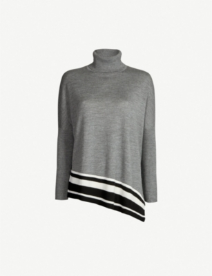 KAREN MILLEN Striped-hem turtleneck wool jumper
