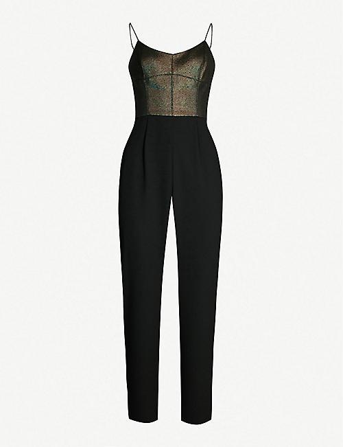20fb3d025ddae KAREN MILLEN Metallic-bodice crepe jumpsuit