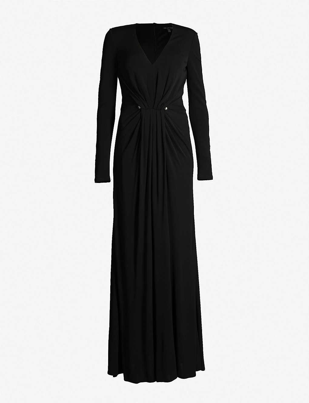 1e3f2a7595e KAREN MILLEN - Draped-fabric maxi dress with metal-bar detail ...