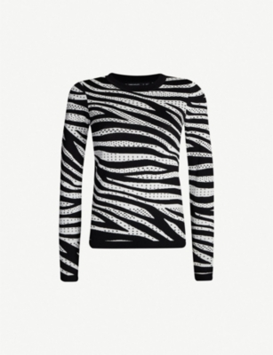 KAREN MILLEN Zebra-pattern fitted stretch-knit top
