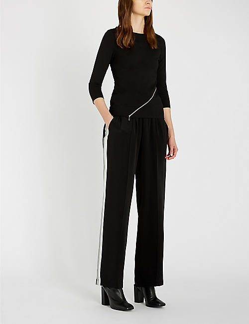 KAREN MILLEN Zip-detail crepe top