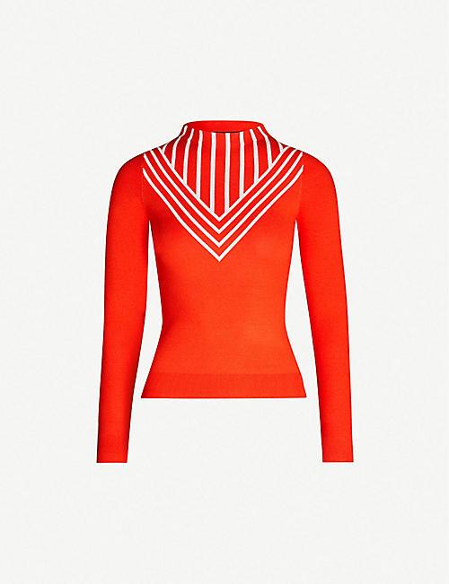 3ca01bbc862e4 KAREN MILLEN Chevron-striped panel knitted jumper