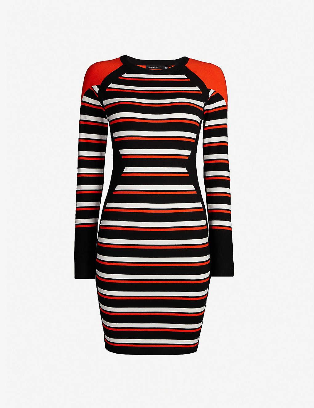 f27246aaf91 KAREN MILLEN - Striped knitted bodycon midi dress | Selfridges.com