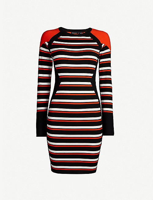 ec29b412e3 KAREN MILLEN Striped knitted bodycon midi dress