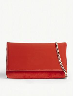 392f03dad53 KAREN MILLEN · Brompton patent leather and suede clutch