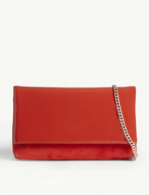 KAREN MILLEN Brompton patent leather and suede clutch