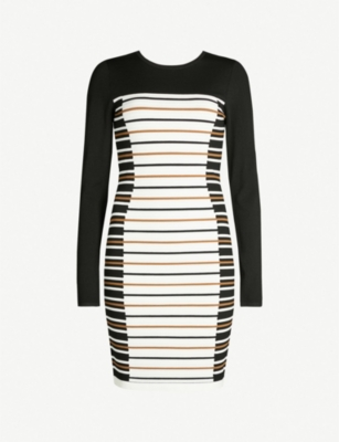 KAREN MILLEN Striped knitted bodycon dress
