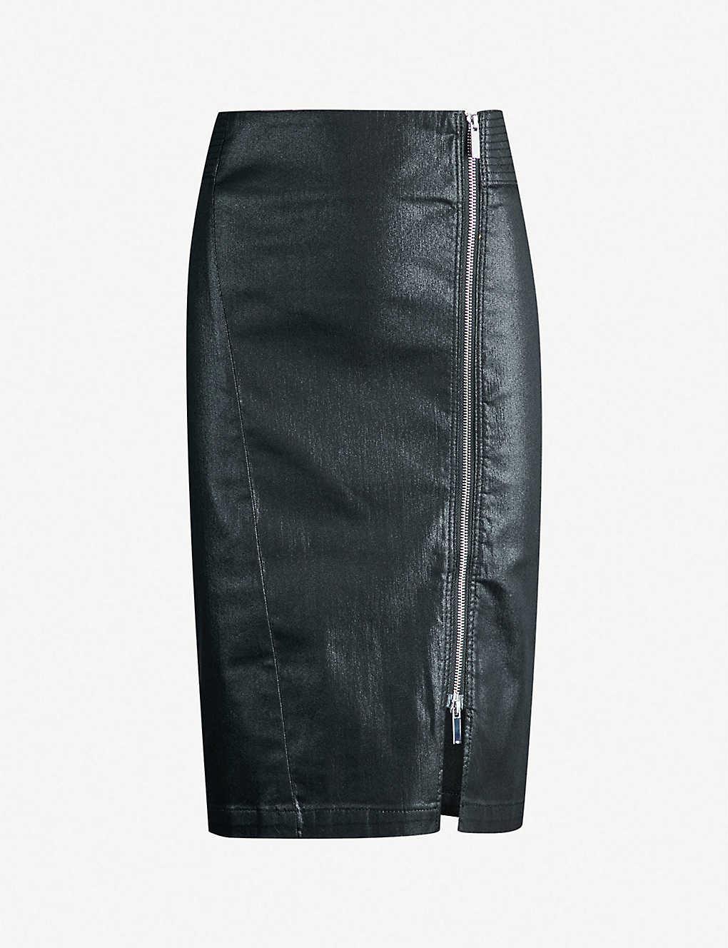 e01246a56 KAREN MILLEN - Coated stretch-denim pencil skirt | Selfridges.com