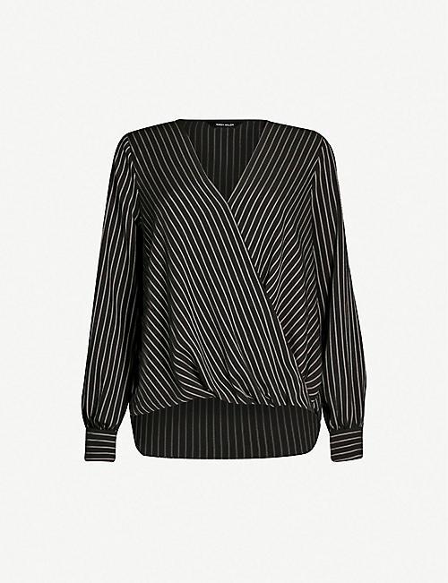 KAREN MILLEN Draped V-neck woven blouse dab14ed64