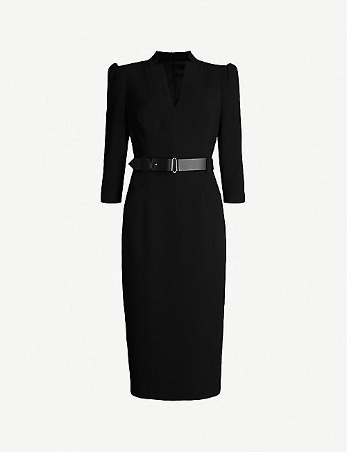 KAREN MILLEN Puffed-shoulder fitted crepe dress