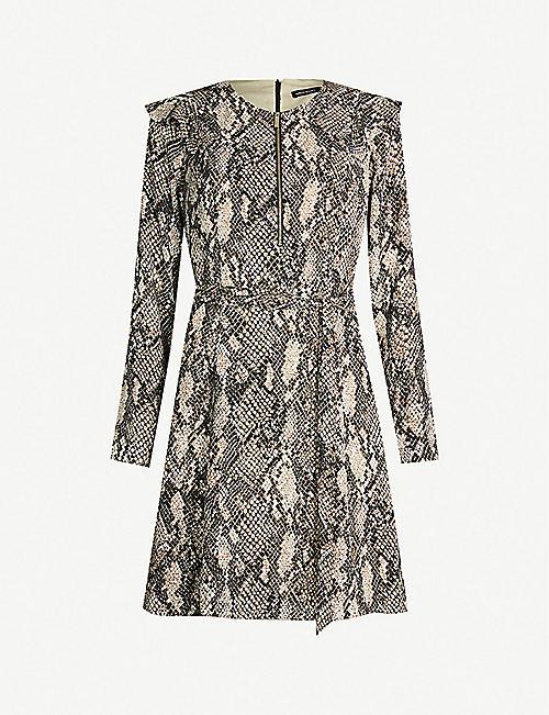 1df1306386 KAREN MILLEN Snake-print zip-front satin dress