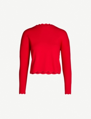 KAREN MILLEN Scallop-edged knitted jumper