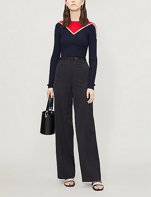 KAREN MILLEN Contrast-panel stretch-knit jumper