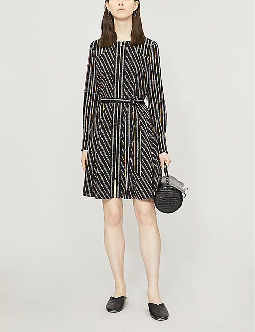 KAREN MILLEN Chain-print crepe dress