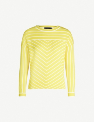 KAREN MILLEN Striped stretch-knit jumper