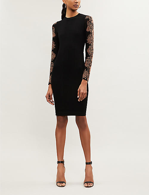 KAREN MILLEN Snakeskin-print sleeve knitted bodycon dress
