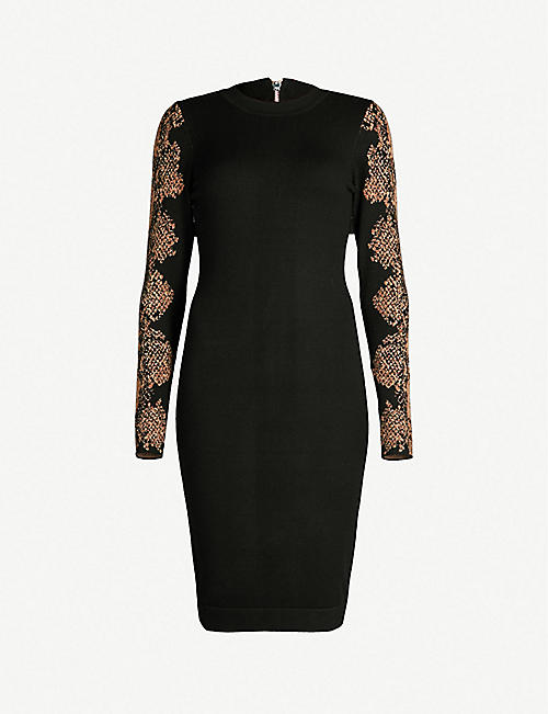 54c57b67bf4 KAREN MILLEN Snakeskin-print sleeve knitted bodycon dress