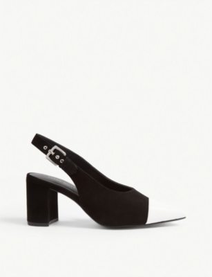 KAREN MILLEN Block heel slingback leather shoes