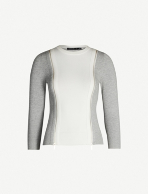 KAREN MILLEN Zip-detail colour-blocked stretch-knit jumper