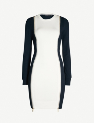 KAREN MILLEN Colour-blocked stretch-knit dress