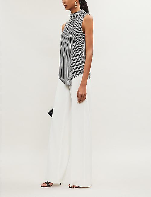 91af7f64c64a4f KAREN MILLEN Crossover front stripe-print crepe blouse